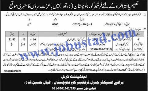 Jobs in Frontier Corps  Pak Army Latest Advertisement