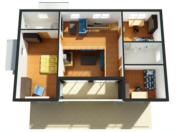 Planos proyecto direcci n y construcci n de obras for Planos de casas 90m2