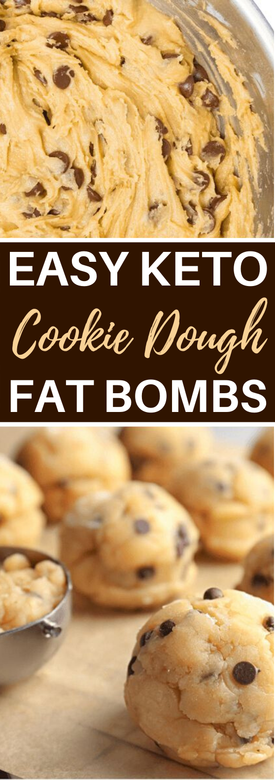 Keto Chocolate Chip Cookie Dough Fat Bombs #healthy #snacks #keto #diet #cookies