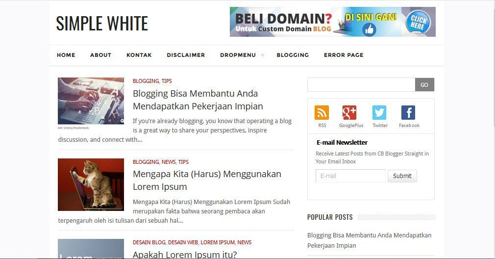 Simple White Template Blog Sederhana Gratis