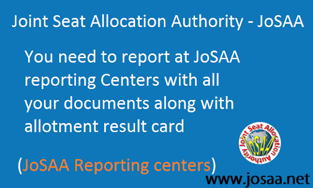 Reporting Centers for JoSAA 2017