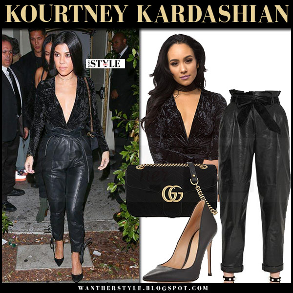 Kourtney Kardashian in black velvet top and black leather pants philosophy di lorenzo what she wore