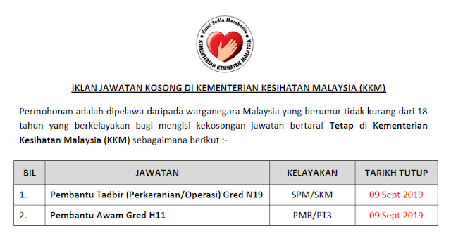 kementerian kesihatan malaysia jawatan kosong