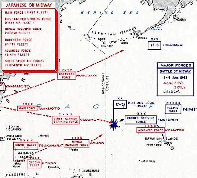 Map of Battle of Midway. 4 June 1942 worldwartwo.filminspector.com