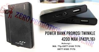 Powerbank Twinkle - 4.200mAh Kode: P42PL16, Barang Promosi Powerbank Plastik Twinkle 4.200mAh P42PL16, Souvenir Powerbank P42PL16