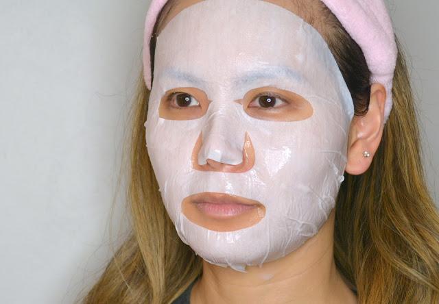 close up mask selfie of merbliss wedding dress ruby sheet mask