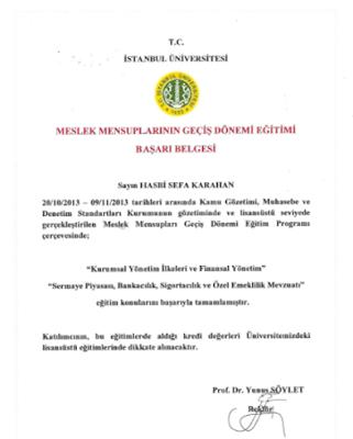 İstanbul Üniversitesi Meslek mensuplarının geçiş dönemi eğitimi 'Başarı Belgesi