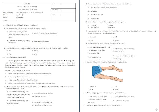 Soal UTS kelas 5 SD/MI Tema 1-2 Subtema 2-1