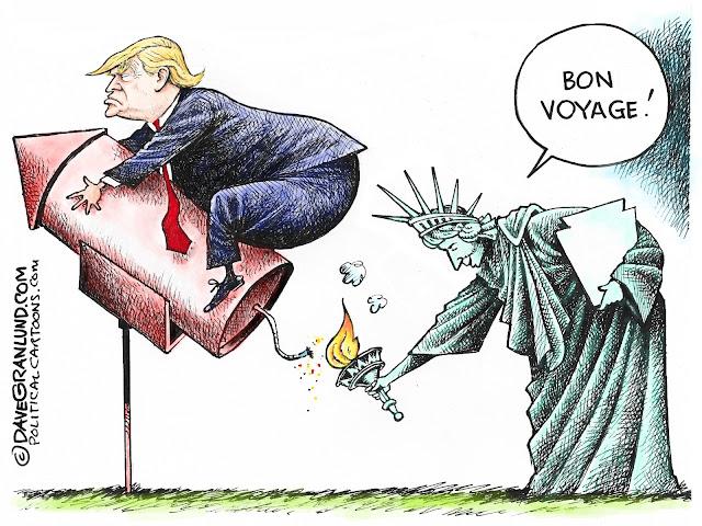 Trump on rocket lit by Lady Liberty