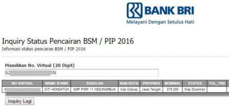 gambar cek BSM/PIP 2016 Sudah Masuk ke rekening BRI