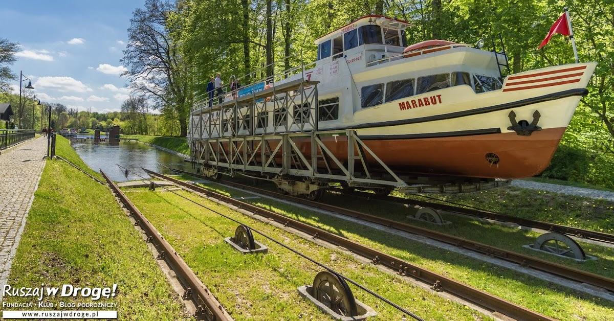 Pochylnia w Buczyńcu na Kanale Elbląskim. Tak statki pływają po trawie.