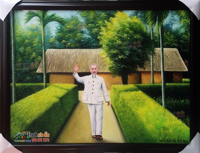 Tranh sơn dầu Bác Hồ về thăm quê