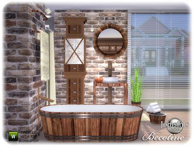 Becotine bathroom Бекотин ванная для The Sims 4 Коллекция ванной комнаты Becotine. Типично дерево любит кабина шик. душ. ванна. полотенца деко. круглое настенное зеркало. настенный светильник. мебель для ванной. коврики для ванной. деко небольшой баке. завод. Наполните свой дом коллекцией бекотина. Автор: jomsims