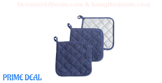 Potholder Quilted Terry Oven Set Machine Washable 7 x 7