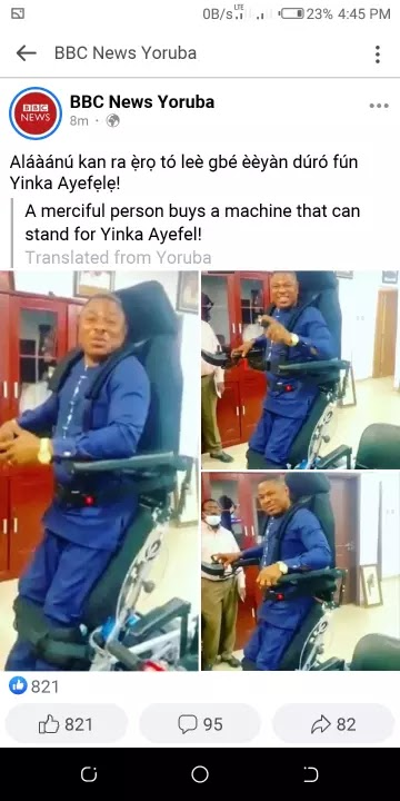 Congrats as Yoruba gospel artist Yinka Ayefele gets a machine that helps him stands