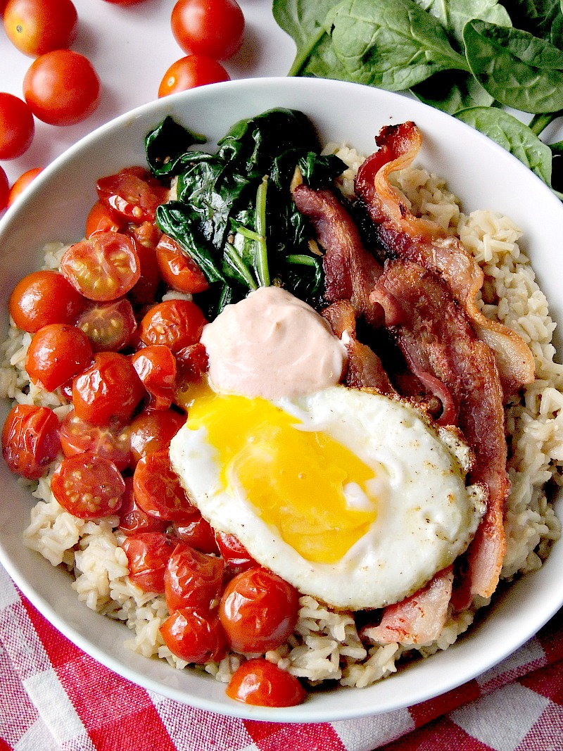 Brown Rice BLT Bowls will change the way you think about your morning meal! From www.bobbiskozykitchen.com