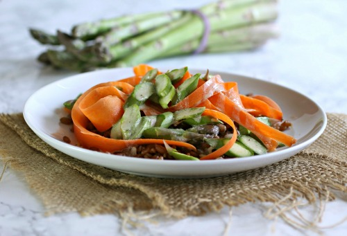 Toasted Flax, Asparagus and Carrot Ribbon Salad