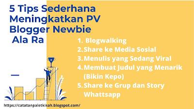 Tips sederhana meningkatkan PV Blogger Newbie Ala Ra
