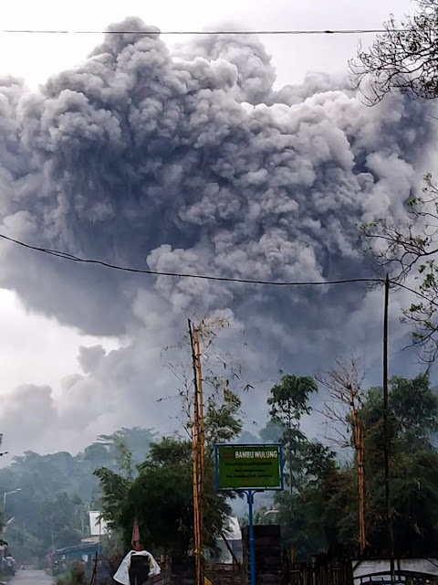 A volcano on the island of Java erupted and threw gas and ash on its slopes