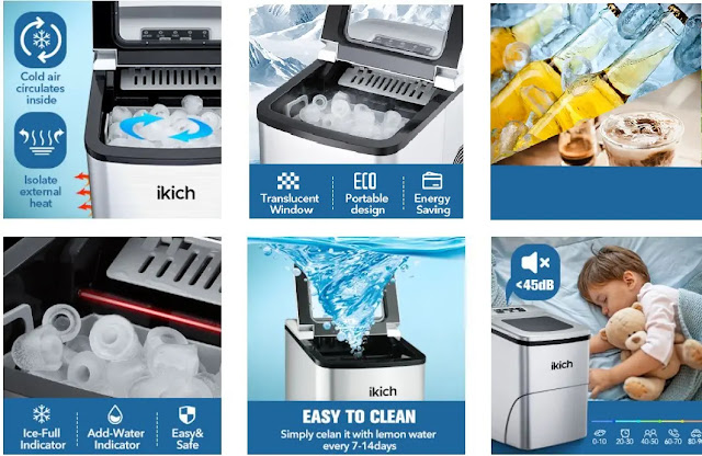 1. IKICH Portable Ice Maker Machine - Features :