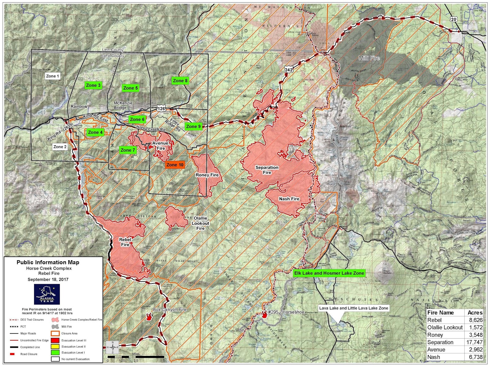 Central OR Fire Info 9182017 Horse Creek Complex Map