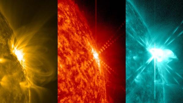 3 rakaman ribut solar yang dirakam dalam 3 warna