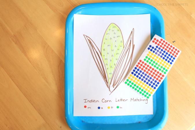 Indian Corn Preschool Alphabet Activity
