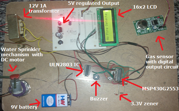 Automatic fire detection system with water sprinkler system using msp430 mcu