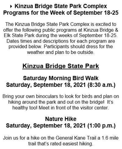 9-18 Kinzua Bridge State Park Programs