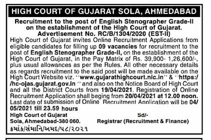 Gujarat High Court Gujarati & English Stenographer Recruitment 2021 (HC OJAS)