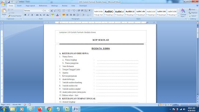 Contoh Formulir Biodata Siswa SD SMP SMA dan SMK