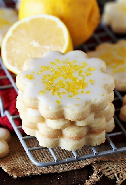 Stack of Lemon-Glazed Butter Cookies Image