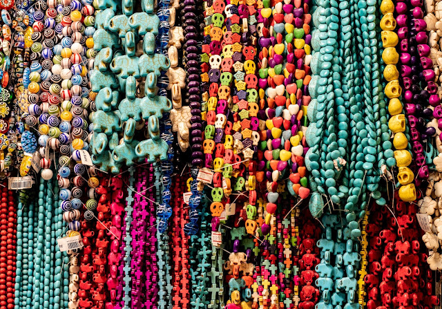 Colorful beaded jewelry on sale.