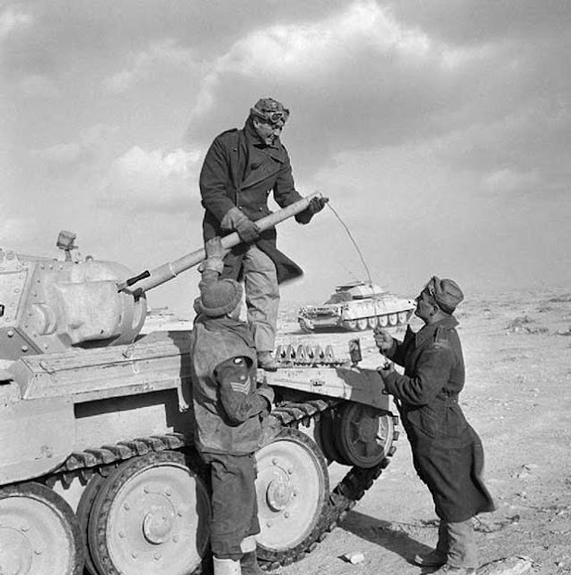 A Crusader tank crew at work in North Africa on 6 February 1942, worldwartwo.filminspector.com