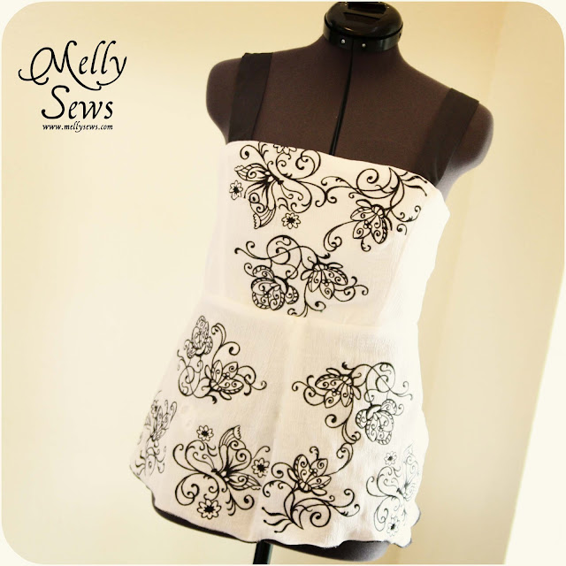 Embroidered cotton gauze top