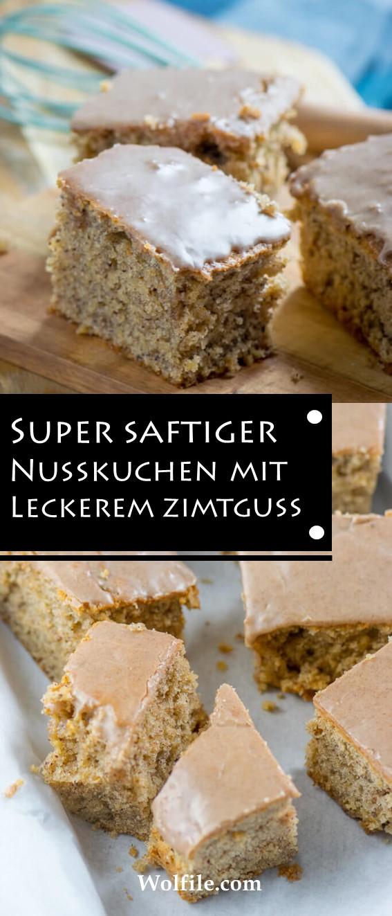 SUPER SAFTIGER NUSSKUCHEN MIT LECKEREM ZIMTGUSS #Herbst #Kuchen vom Blech #Lieblingskuchen # Lieblingsrezepte #Süßes #Weihnachten #Cake