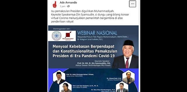 Alasan Sebut Din Syamsuddin Dungu, Ade Armando: Saya Pendukung Jokowi, Maka Isu Pemakzulan Presiden Perlu Diperhatikan