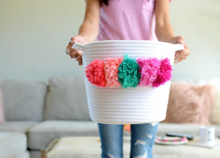 Pom Pom basket tutorial