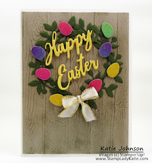 Birds and More dies by Stampin'Up! make this Easter Wreath card with Rainbow Glimmer Paper eggs