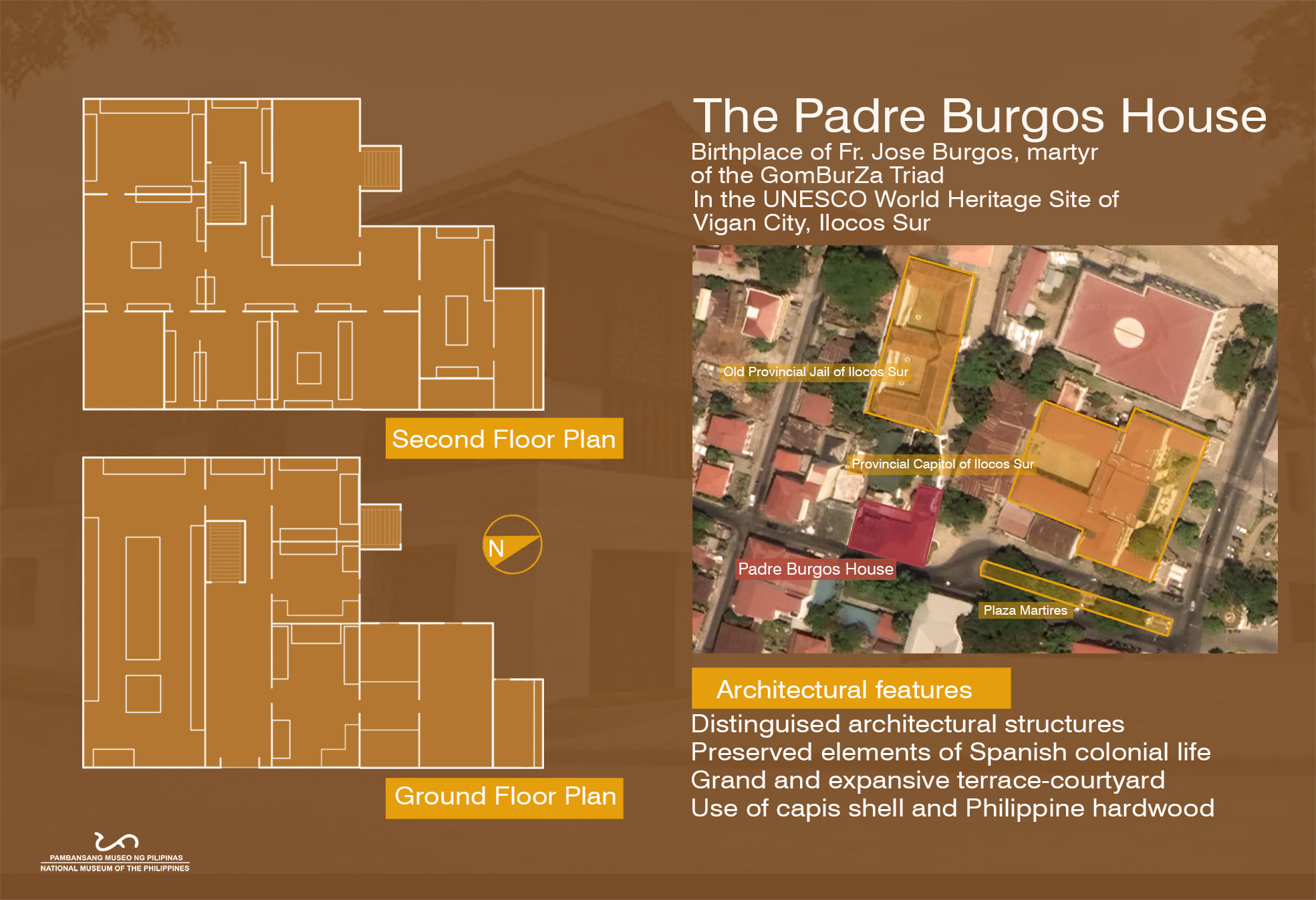 Exterior view of the Padre Burgos House and Upper Floor Plan (A. Arciaga III, NMP AABHD)