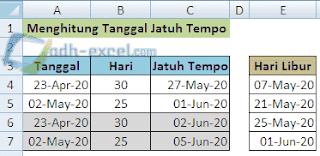 menghitung tanggal jatuh tempo dengan libur hari minggu dalam Excel