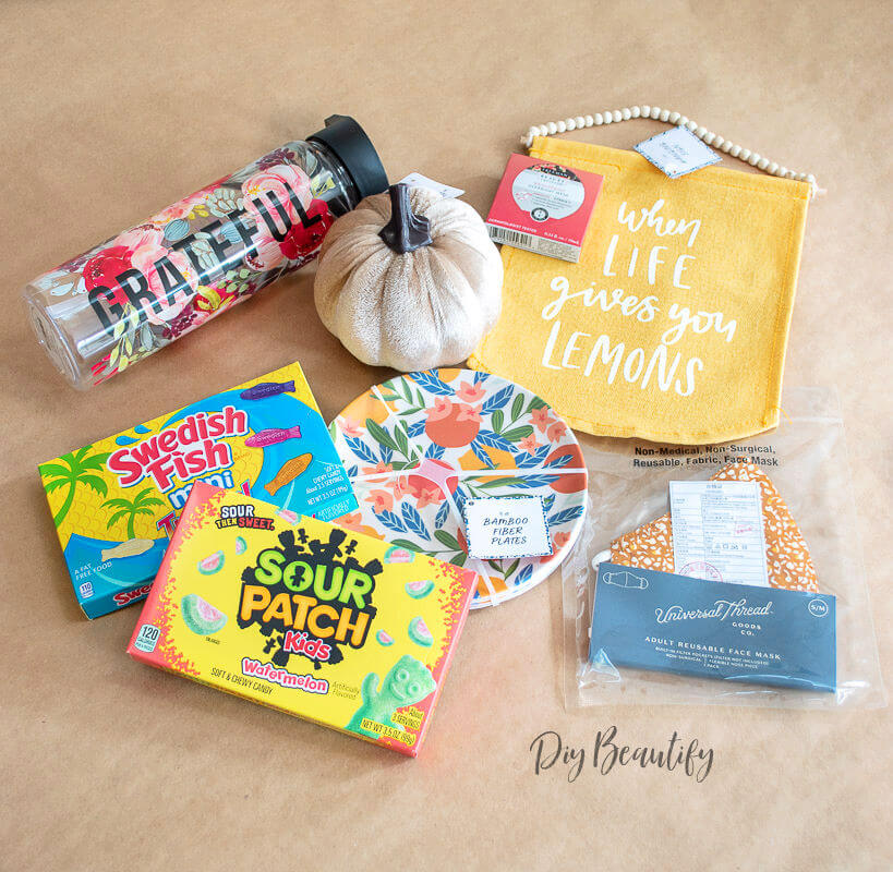 candy, water bottle, fall decor