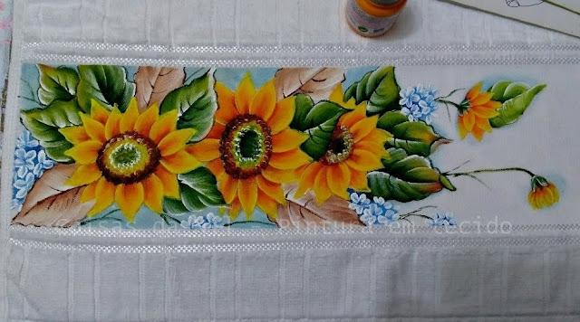 pintura em tecido girassois