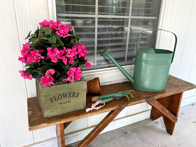 Wood bench, wood planter, Nearly Natural Bougainvillea