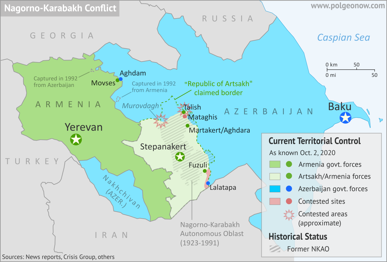 Nagorno-Karabakh control map, showing territorial claims and control in the new Azerbaijan-Armenia war, including the self-proclaimed Republic of Artsakh. Updated to October 2, 2020, showing claimed Azerbaijani advances around the edges of the disputed territory. Colorblind accessible.