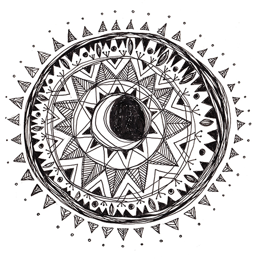 White Moon Mandala - Erin Clark - Inked in Red