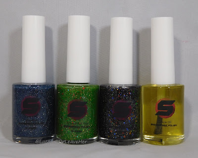 Shinespark Polish Snowfall, O Christmas Tree, Black Opal, and Candy Cane Cuticle Oil