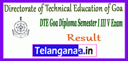 DTE Directorate of Technical Education Goa Diploma 1st 3rd 5th Semester Result