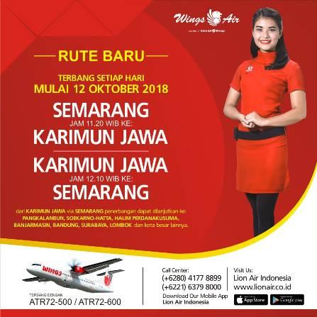 Jadwal pesawat Wings Air Semarang - Karimunjawa