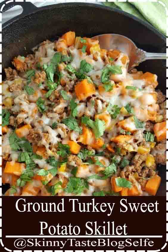 4.7 | ★★★★★ This Ground Turkey Sweet Potato Skillet recipe is a healthy gluten free meal that is full of flavor and hearty enough to feed your family quickly on busy weeknights!#SweetPotato #Skillet